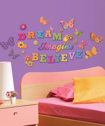 GlitterPuff 'Dream Imagine Believe' Wall Decal Set
