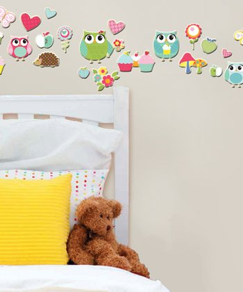 Owls & Cupcakes GlitterPuff Wall Decal Set