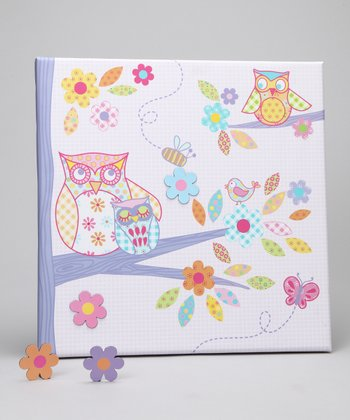 Pink & Purple Sweet Owl Canvas Magnet Memo Board