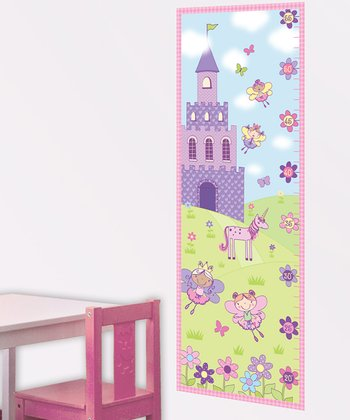 Pink & Green Princess Castle Growth Chart Wall Decal