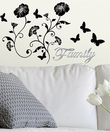'Family' Flower Scroll Wall Decal Set