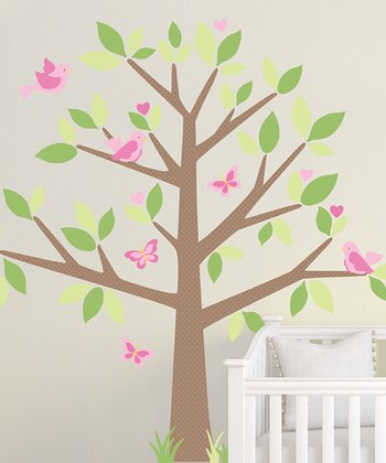 Green & Pink Tree Heart Wall Decal Set