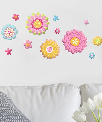Flowers GlitterPuff Wall Decal Set