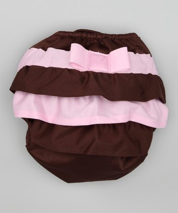 Brown & Pink Ruffle Cloth Diaper Cover