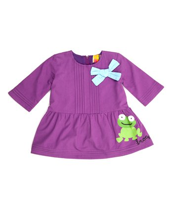 Purple Frog Pleated Dress - Infant, Toddler & Girls
