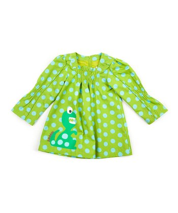 Green Polka Dot Lunares Dress - Infant & Girls