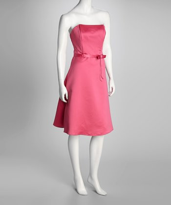 Hot Pink Princess Di Strapless Dress & Wrap - Women & Plus