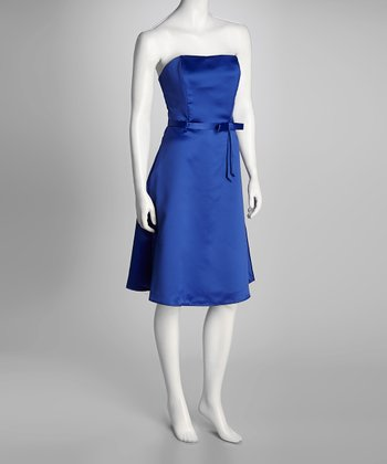 Royal Blue Princess Di Strapless Dress & Wrap - Women & Plus
