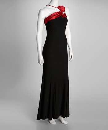 Black & Red Princess Grace Maxi Dress & Wrap - Women & Plus
