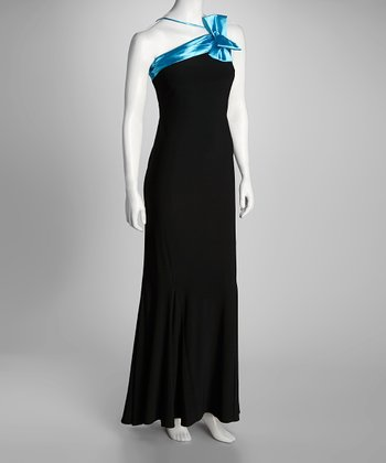 Black & Turquoise Princess Grace Maxi Dress & Wrap - Women & Plus