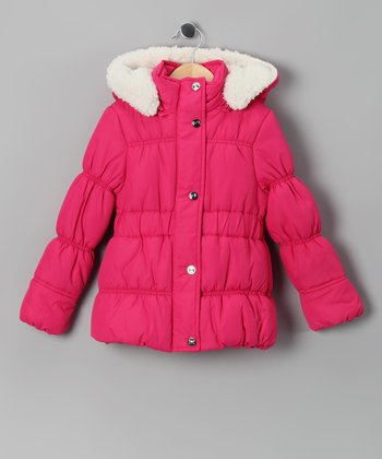 Fuchsia & White Puffer Coat - Girls