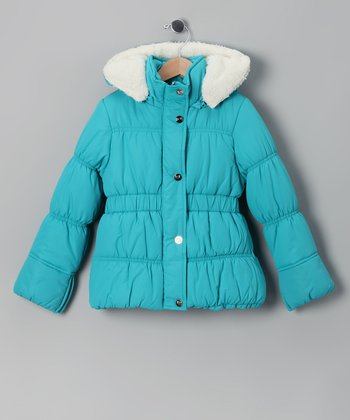 Teal & White Puffer Coat - Girls