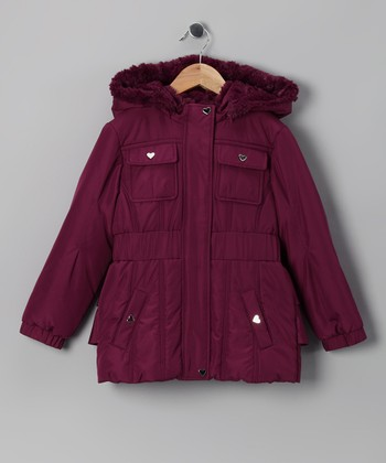 Sugarplum Ruffle Puffer Coat - Girls