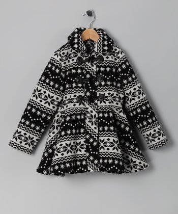 Black & White Fair Isle Swing Coat - Toddler