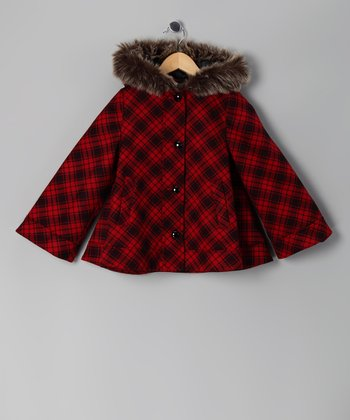 Red & Black Plaid Cape - Girls