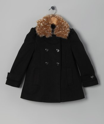 Black Faux Fur Peacoat - Girls