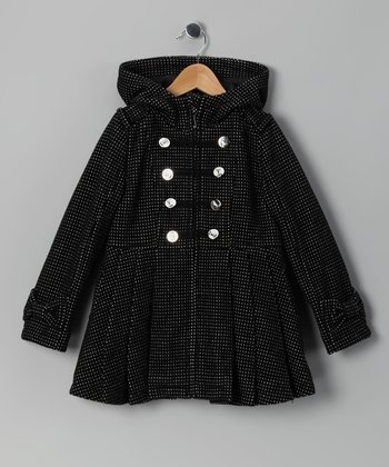 Black & White Tweed Wool-Blend Swing Coat - Girls