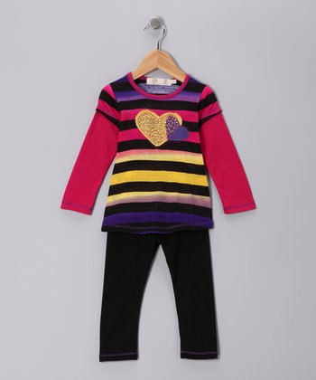 Black Heart Stripe Layered Tunic & Leggings - Toddler & Girls