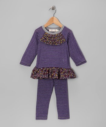 Purple Stripe Ruffle Tunic & Leggings - Girls