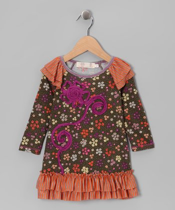 Orange & Olive Ruffle Tunic - Girls