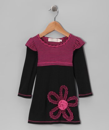 Black & Fuchsia Stripe Flutter Layered Dress - Toddler