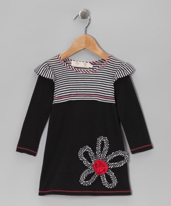 Black & White Stripe Flutter Layered Dress - Toddler & Girls