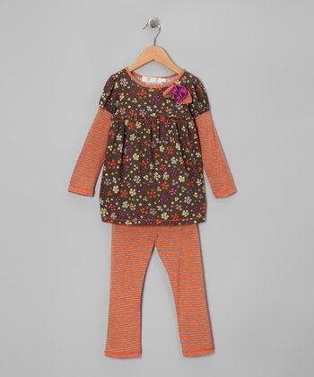 Orange & Olive Floral Tunic & Leggings - Girls