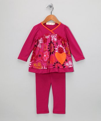 Magenta Heart Surplice Tunic & Leggings - Girls