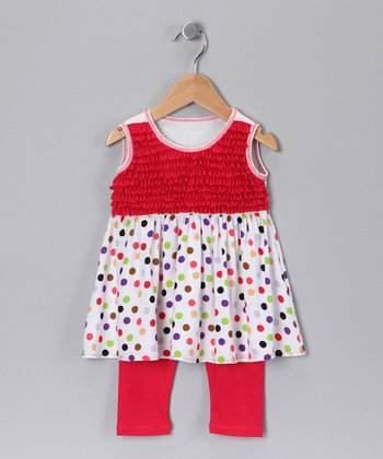 White Polka Dot Ruffle Tunic & Leggings - Girls