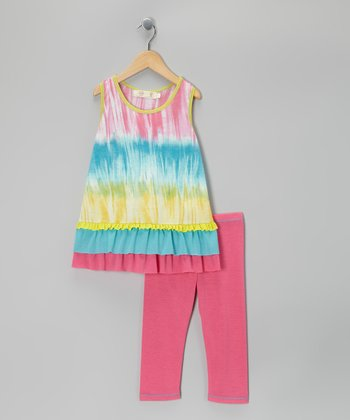 Pink Tie-Dye Ruffle Tunic & Leggings - Toddler & Girls