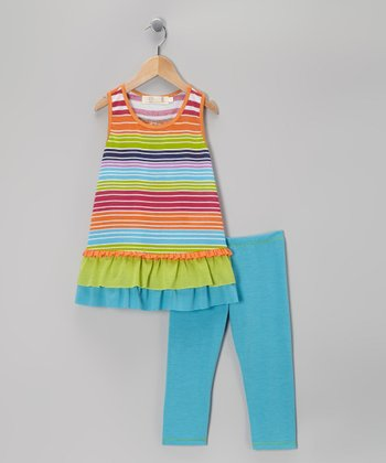 Turquoise Stripe Ruffle Tunic & Leggings - Toddler & Girls