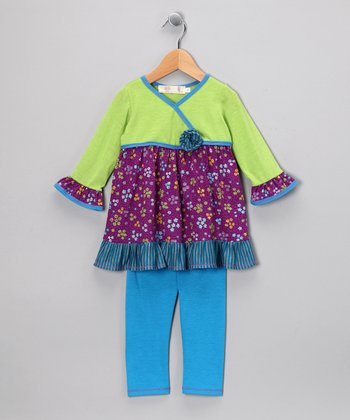 Lime Flower Surplice Tunic & Leggings - Girls
