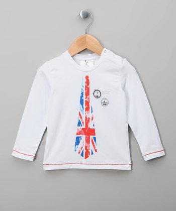 White Union Jack Tie Tee - Infant & Toddler