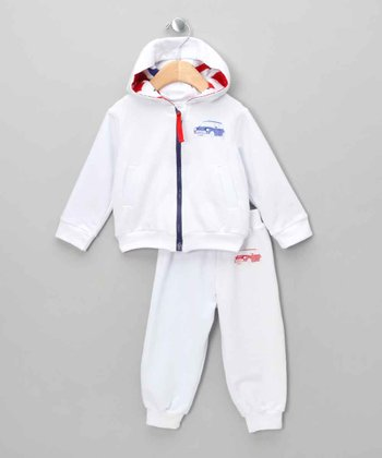 White Mini Cooper Zip-Up Hoodie & Pants - Infant & Toddler