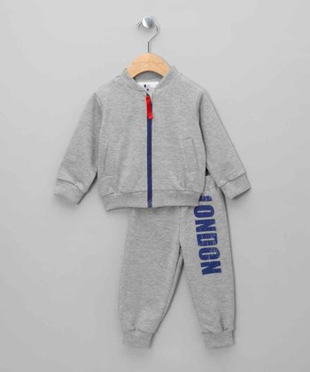 Gray Union Jack 'London' Zip-Up Jacket & Pants - Infant