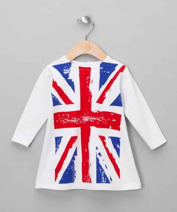 White Union Jack Dress - Infant & Toddler
