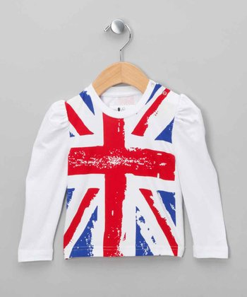 White Union Jack Top - Infant & Toddler