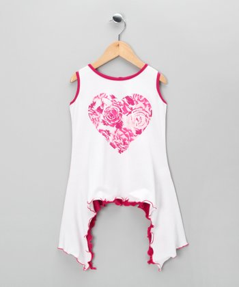Pink Rose Heart Sidetail Tunic - Infant, Toddler & Girls