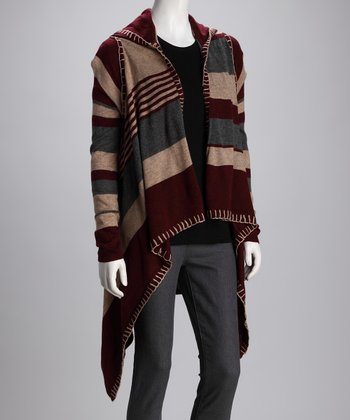 Burgundy Stripe Hooded Open Cardigan