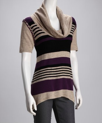 Purple Stripe Cowl Neck Top