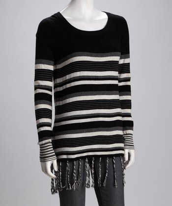 Black Stripe Fringe Sweater