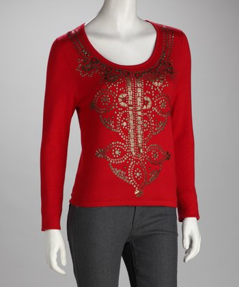 Red Embellished Mehndi Top