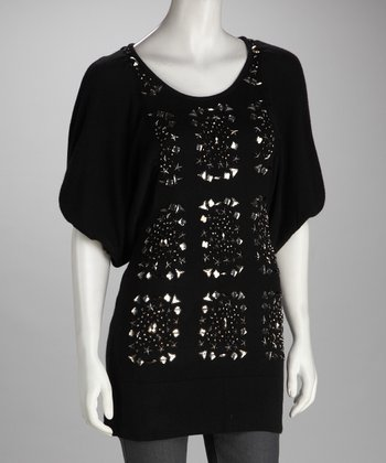 Black Embellished Cashmere-Blend Tunic