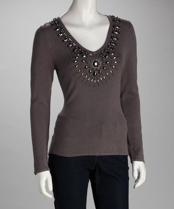 Gray Beaded V-Neck Top