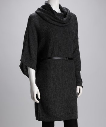 Charcoal Wool-Blend Asymmetrical Tunic