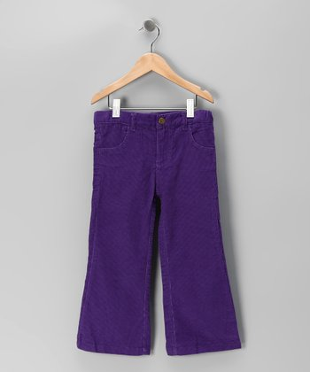 Purple Corduroy Flared Pants - Toddler & Girls