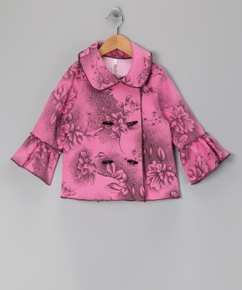 Pink Floral Peacoat - Toddler & Girls
