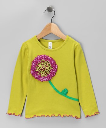Lime Ruffle Flower Tee - Toddler & Girls