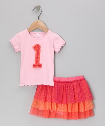 Pink '1' Tee & Tiered Tulle Skirt - Infant