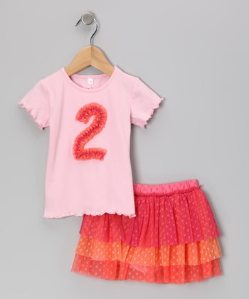 Pink '2' Tee & Tiered Tulle Skirt - Toddler